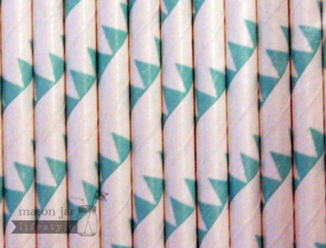 Green #7 Flags Biodegradable Paper Party Straw