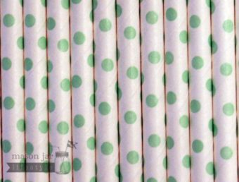 Green #8 Polka Dots Biodegradable Paper Party Straw
