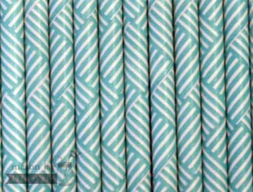 Green #9 Chevron Biodegradable Paper Party Straw
