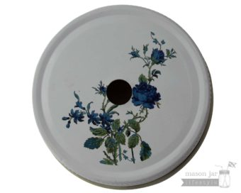 Blue Japanese flower straw hole tumbler lid for regular mouth Mason jars