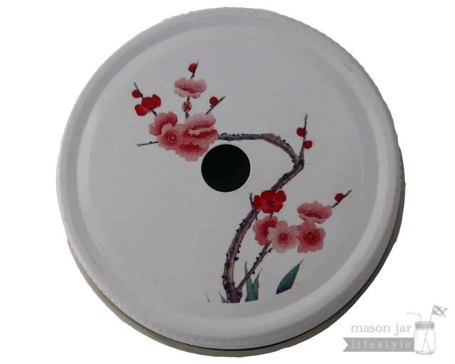 Red Japanese flower straw hole tumbler lid for regular mouth Mason jars