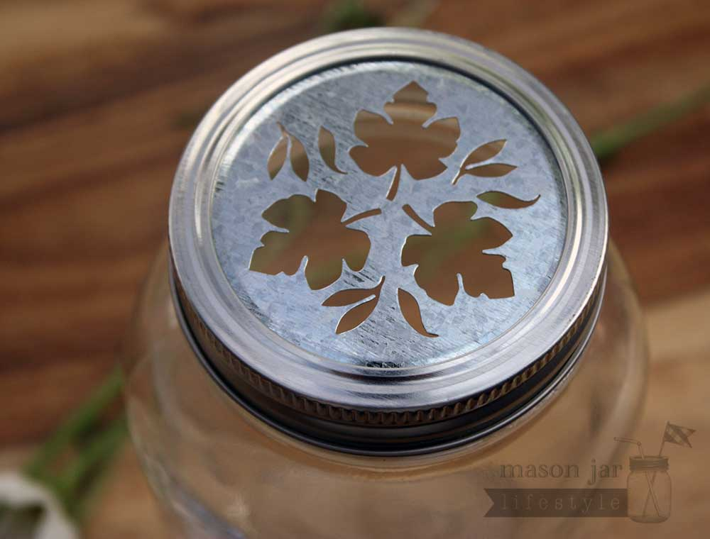 Leaf Pattern Galvanized Metal Lid Insert For Rm Mason Jars