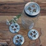 Metal leaf pattern lid insert for regular mouth Mason jars 4 pack