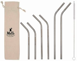 Mason Jar Lifestyle Combination pack thin bent stainless steel metal straws for Mason jars and other cups and glasses