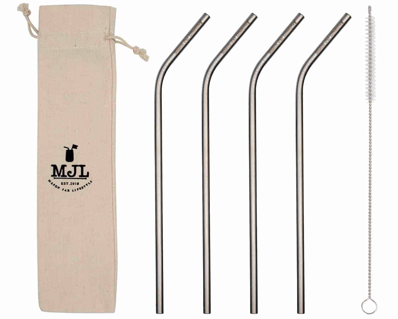 Mason Jar Lifestyle Long thin bent stainless steel metal straws for quart 32oz Mason jars, large cups, and tall glasses
