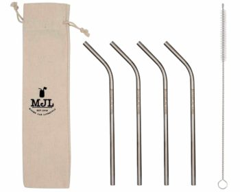 Mason Jar Lifestyle Medium thin bent stainless steel metal straws for pint 16oz Mason jars, pint glasses, and other medium cups