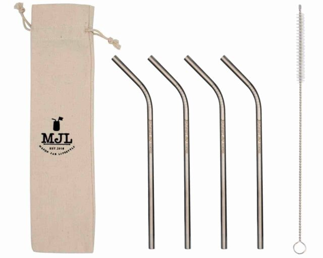 Mason Jar Lifestyle Medium thin bent stainless steel metal straws for pint 16oz Mason jars, pint glasses, and other medium cups