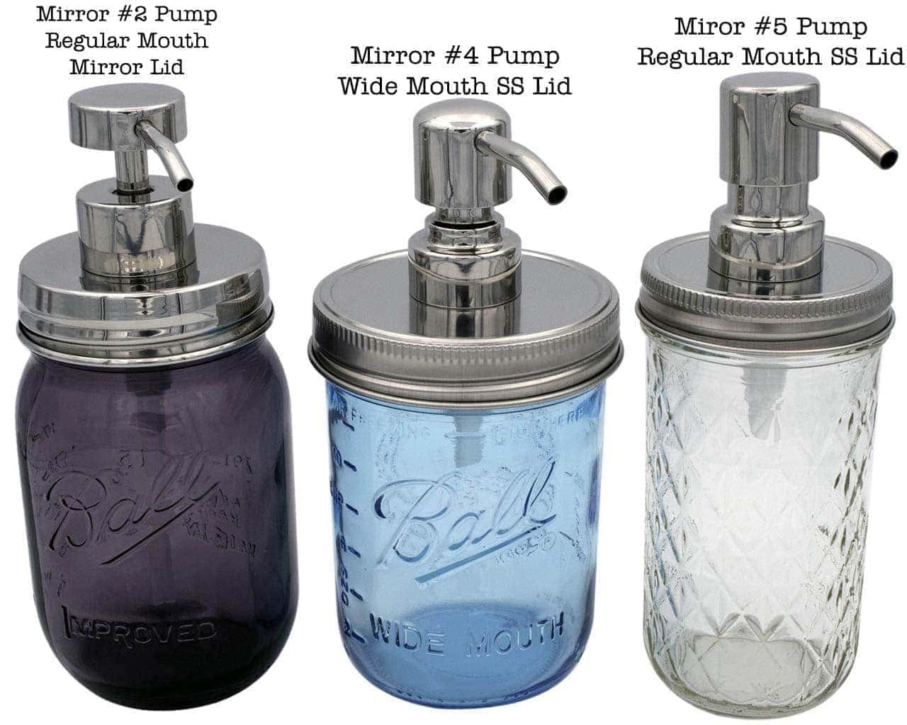 mason jar lifestyle rust proof soap lotion pump dispenser lid kit mirror chrome 2 4 5 regular wide mouth pint 16oz 12oz ball mason jars labelled
