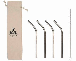 Mason Jar Lifestyle Short thin bent stainless steel metal straws for half pint 8oz Mason jars, kid cups, wine glasses, coffee mugs