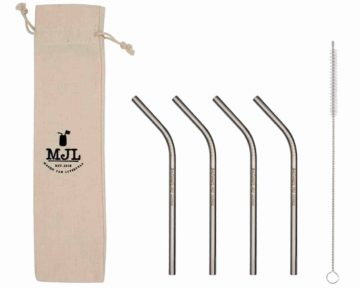 Mason Jar Lifestyle Short thin bent stainless steel metal straws for half pint 8oz Mason jars, kid cups, wine glasses, coffee mugs