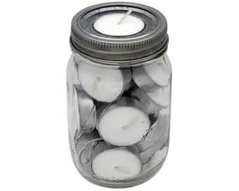 Mason Jar Lifestyle Tea light candle holder galvanized metal lid inserts in regular mouth pint 16oz Kerr Mason jar full of candles