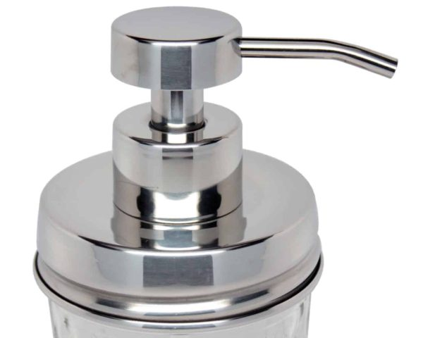Mirror / chrome #2 stainless steel soap pump dispenser kit with shiny lid adapter for regular mouth Mason jars