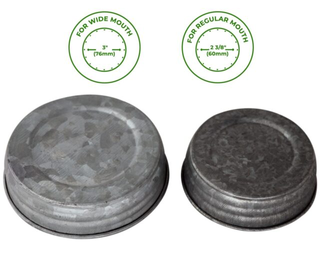 Galvanized Vintage Reproduction Lids for Wide and Regular Mouth Mason Jars