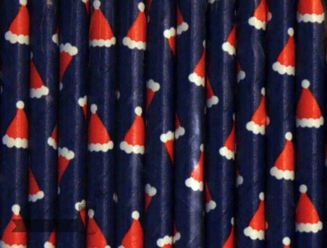 Multi Color #13 Blue Red Santa Hat Biodegradable Paper Party Straw