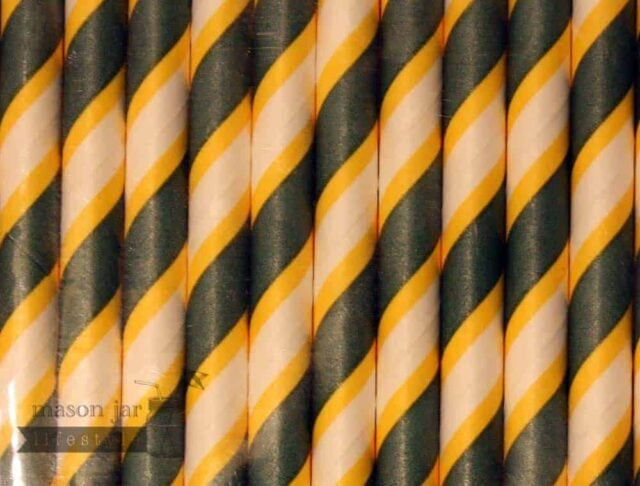 Multi Color #14 Green Gold Packers Candy Striped Biodegradable Paper Party Straw