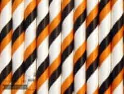Multi Color #16 Orange Black Bengals Candy Striped Biodegradable Paper Party Straw