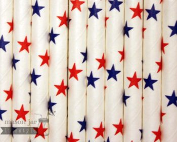 Multi Color #18 Red and Blue Stars Biodegradable Paper Party Straw