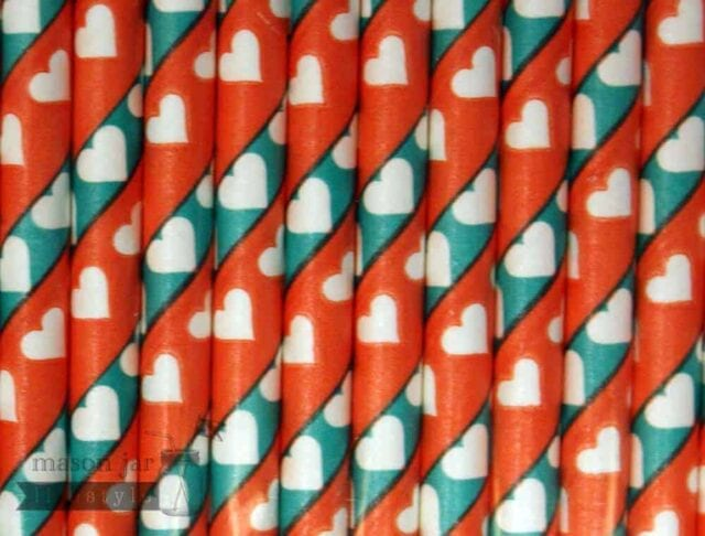 Multi Color #4 Red Green Hearts Biodegradable Paper Party Straw