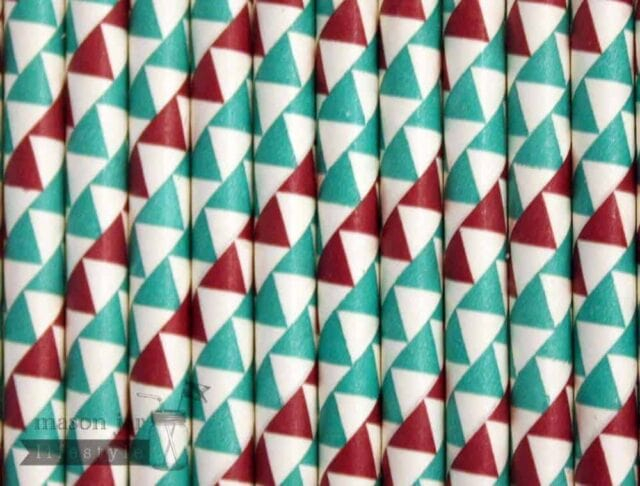 Multi Color #5 Red Green Triangles Biodegradable Paper Party Straw