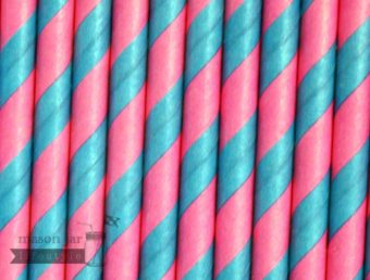 Multi Color #6 Red Blue Candy Striped Biodegradable Paper Party Straw