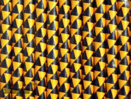 Multi Color #7 Yellow Black Triangles Biodegradable Paper Party Straw