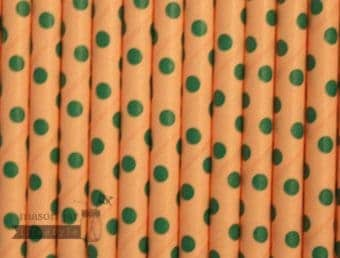 Multi Color #7 Pink Green Polka Dots Biodegradable Paper Party Straw