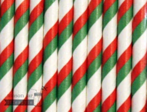 Multi Color #8 Green Red Christmas Candy Striped Biodegradable Paper Party Straw