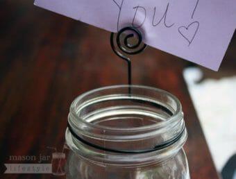 Card holder neck clip on regular mouth Mason jar