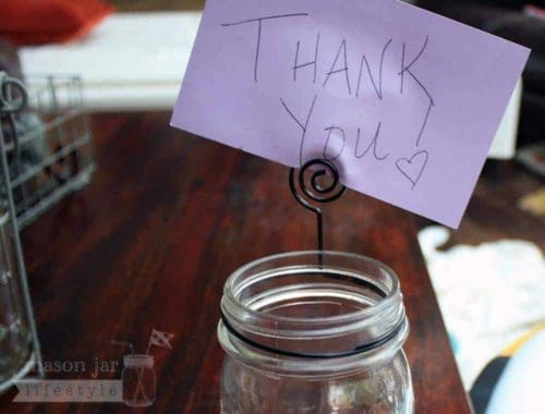 Card holder neck clip for regular mouth Mason jars with Thank You note