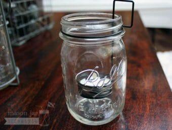 Tea light holder neck clip in regular mouth pint Ball Mason jar