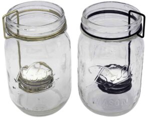 Neck clip tea light holders in gold and brown for regular mouth Mason jars