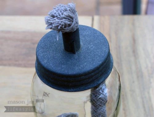 Oil lamp lid for regular mouth Mason jars