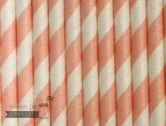 Pink #1 Candy Striped Biodegradable Paper Party Straw