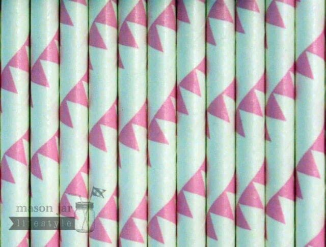 Pink #10 Flags Biodegradable Paper Party Straw