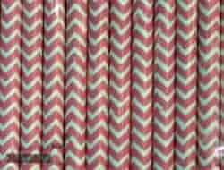 Pink #14 Chevron Biodegradable Paper Party Straw
