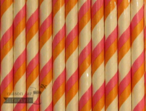 Pink #2 Orange Candy Striped Biodegradable Paper Party Straw