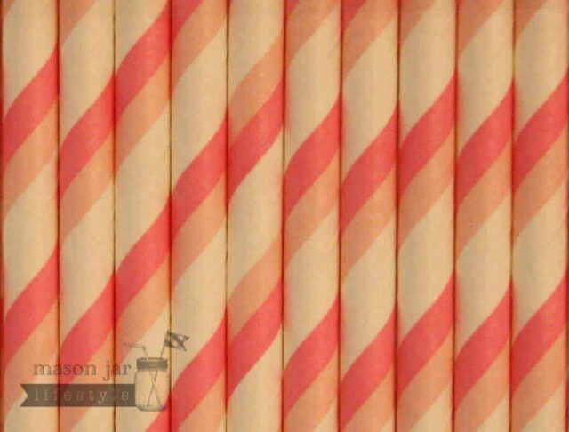 Pink #4 Candy Striped Biodegradable Paper Party Straw