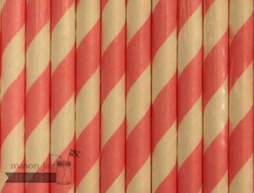 Pink #5 Candy Striped Biodegradable Paper Party Straw