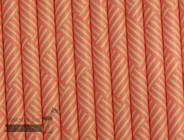 Pink #8 Striped Squares Biodegradable Paper Party Straw