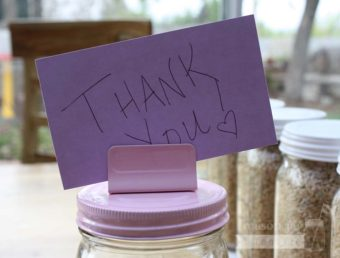 Pink card holder clip lid with Thank You card for regular mouth Mason jars