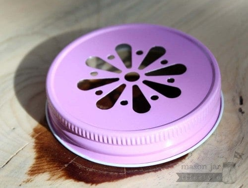 Pink daisy lid for Mason jars side
