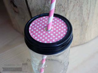 Pink polka dot straw hole tumbler lid insert for regular mouth Mason jars