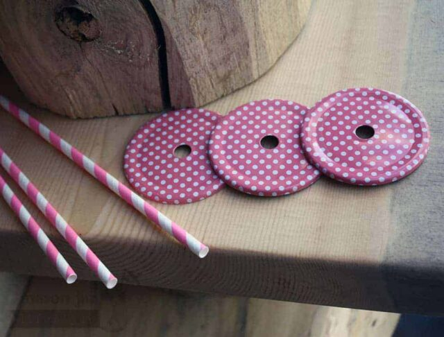 Pink polka dot straw hole tumbler lid inserts for regular mouth Mason jars 3 pack