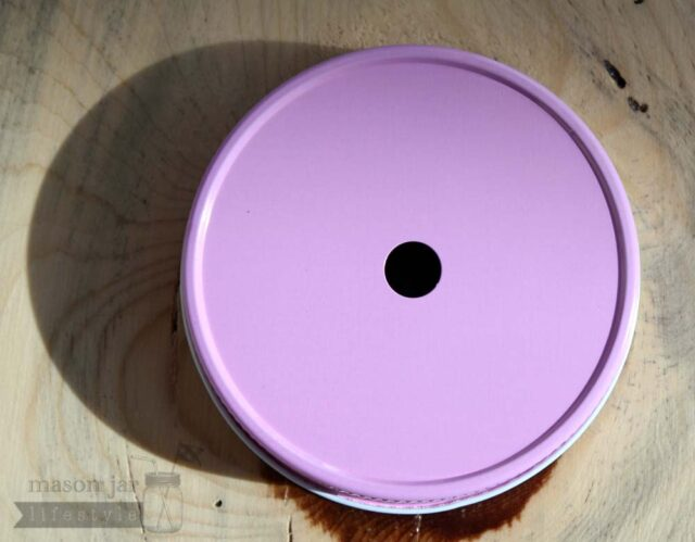 Pink straw hole lid for regular mouth Mason jars