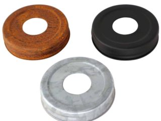 Primitive soap lids for regular mouth Mason jars in rust, matte black, and galvanized metal