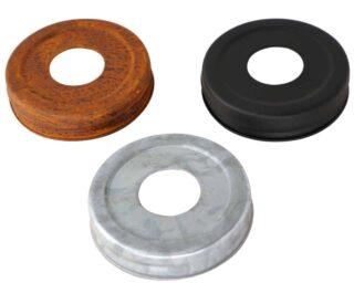 Primitive soap lids for regular mouth Mason jars in rust, matte black, and galvanized metal