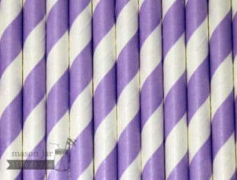 Purple #1 Candy Striped Biodegradable Paper Party Straw