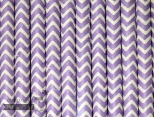 Purple #2 Chevron Biodegradable Paper Party Straw