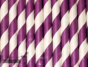 Purple #3 Candy Striped Biodegradable Paper Party Straw