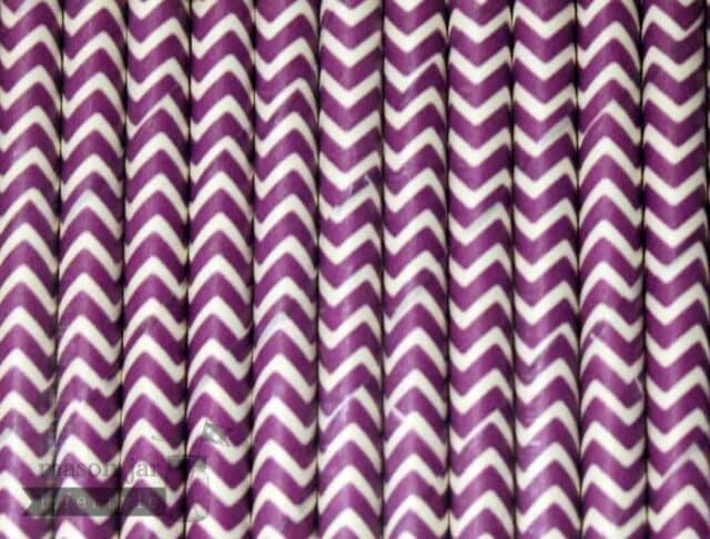Purple #4 Chevron Biodegradable Paper Party Straw